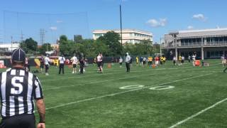 Pittsburgh steelers wide receivers antonio brown, martavis bryant, eli rogers and others sprint through cuts, jukes fakes during a route-running drill at otas.