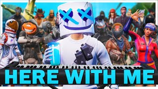 "24 players play ""Here With Me"" on Fortnite piano (Marshmello song) Video"