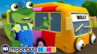 5 Rainbow Buses! | Gecko's Garage: Nursery Rhymes & Baby Songs | Kids Cartoons | Moonbug TV