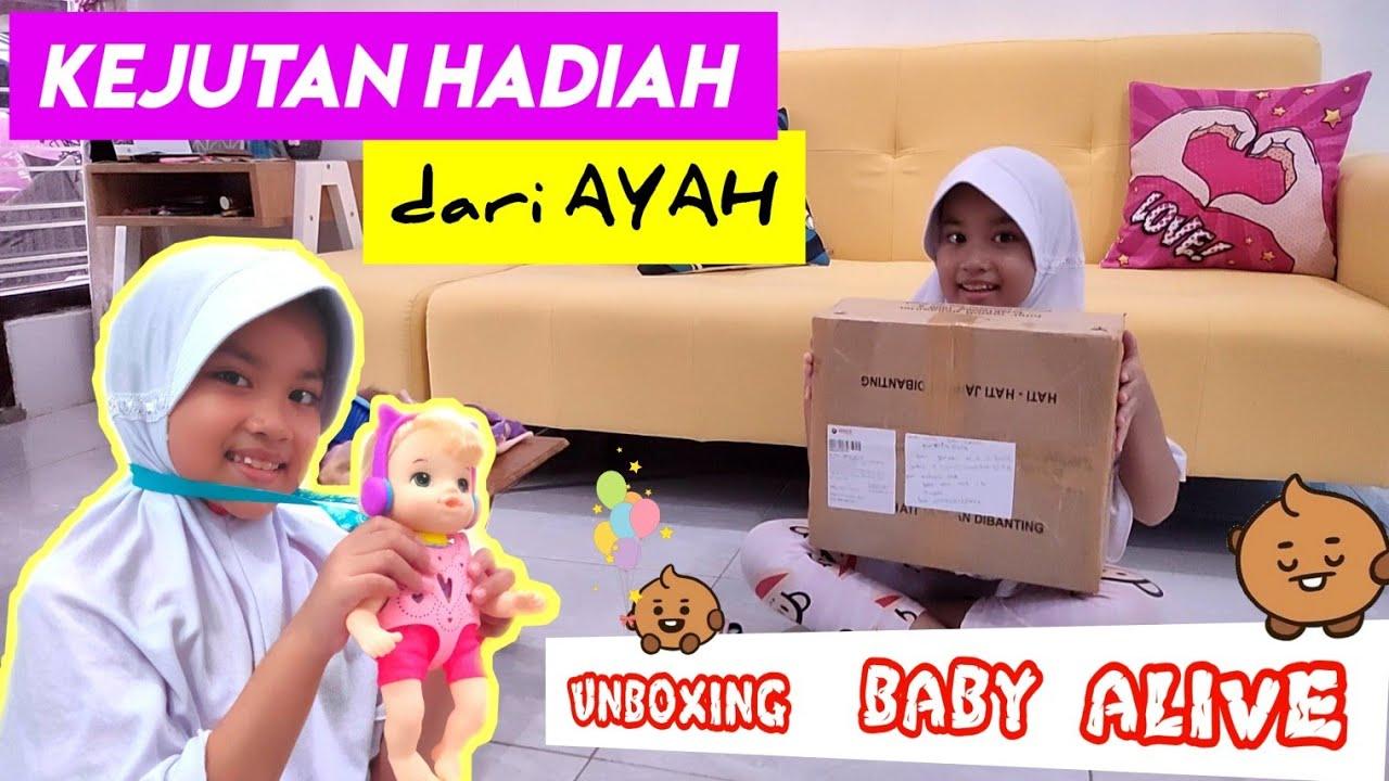 Kaget..!! Drama dapat kejutan HADIAH dari Ayah    Unboxing BABY alive Indonesia