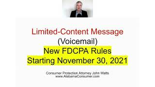 New FDCPA Rules  Limited Content Message