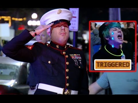 Whoops: Anti-Trump Protesters Run Into The Marines