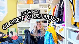CLOSET CLEANOUT! *declutter, organization and full closet transformation*