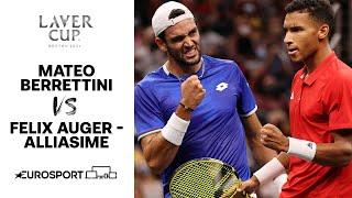 Mateo Berrettini v Felix Auger Aliassime | 2021 Laver Cup - Highlights | Tennis
