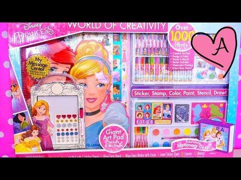 Juego GIGANTE Para Dibujar Princesas Disney Ariel Cenicienta Rapunzel Bella Con Stickers Y Sellos