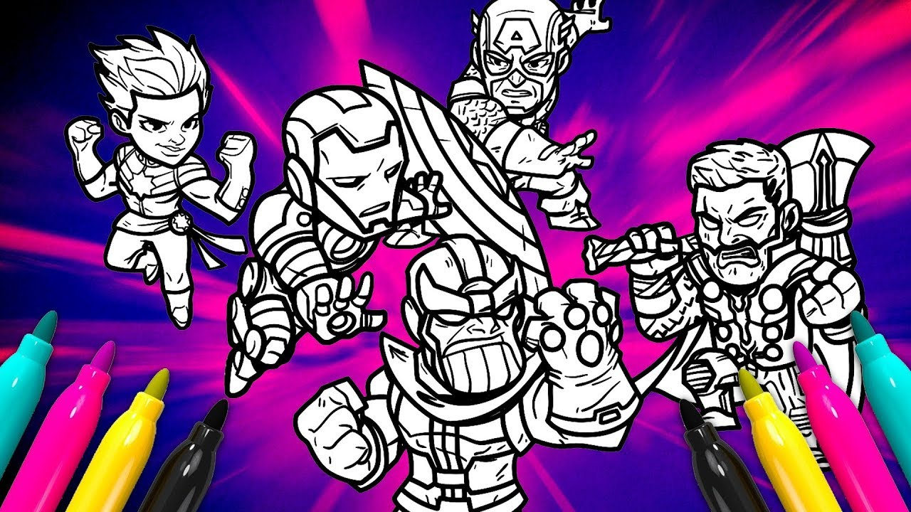 Avengers 4 Members Coloring Page Marvel Superheroes Coloring