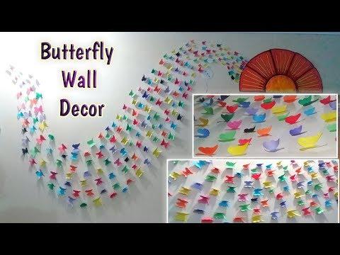 DIY   PAPER BUTTERFLY WALL DECOR   wall decor ideas