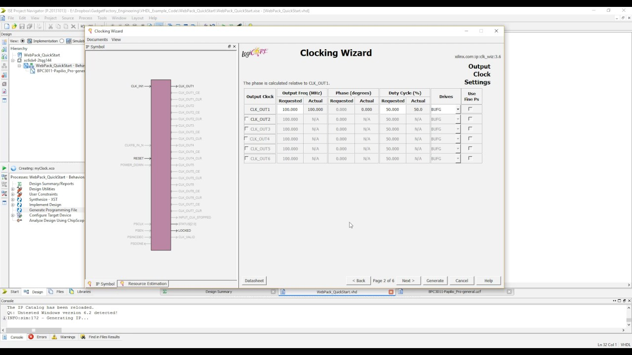 Xilinx ISE Clocking Wizard - Part 1