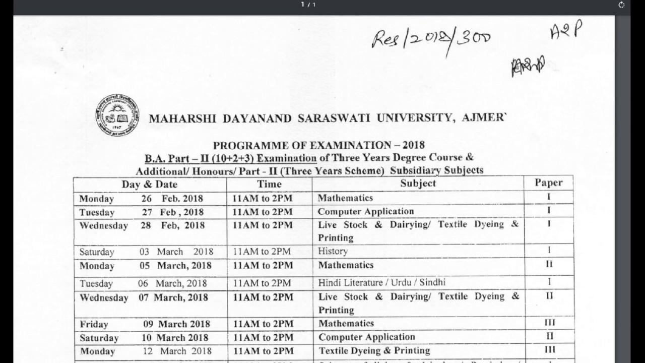 Arts B  A  Part 2nd Year Exam Time Table 2018 || Exam Date Sheet || MDSU  Ajmer Vishwakarma Classes