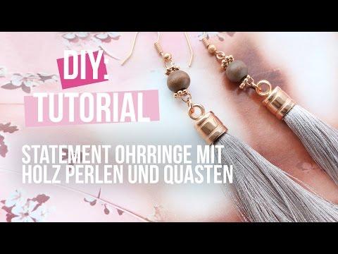 Schmuck machen: Statement Ohrringe mit Holz Perlen und Quasten ♡ DIY