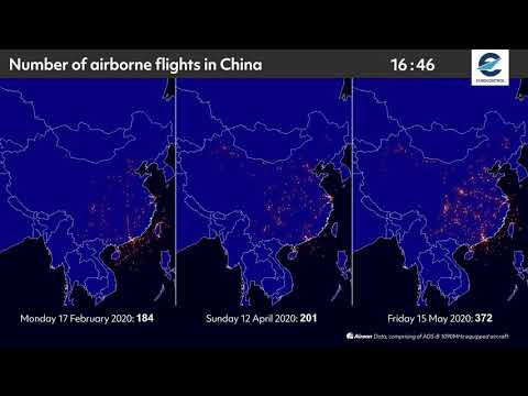 Air traffic situation over China - 17 February vs 12 April vs 15 May 2020