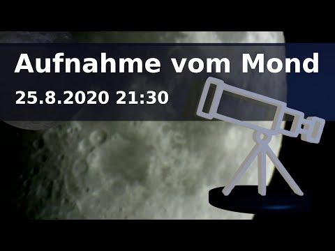 Teleskop Aufnahme vom Mond am 25.8.2020 21:30