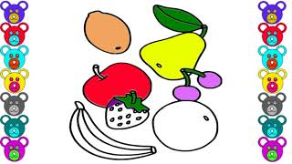 How to Draw Fruits, Banana,strawberry, Orange,banana, Apple, Grapes, Coloring Pages for Kids