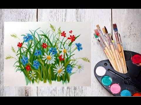 Видео урок Полевые цветы гуашью