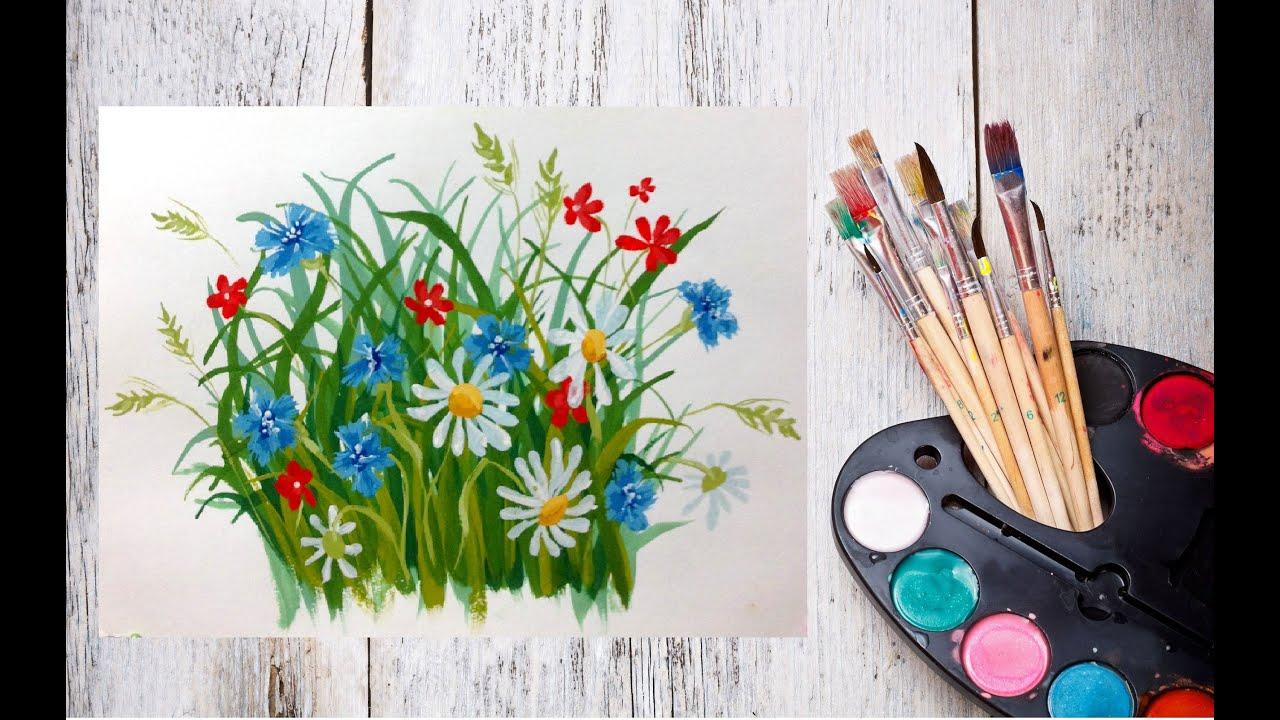 Рисунки гуашью цветы