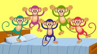 Five Little Monkeys Jumping on the Bed | Nursery Rhymes Song  | Cartoon Kids Songs