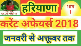 Haryana current affairs 2018 (January to September ) Hssc group d gk/current affairs of haryana