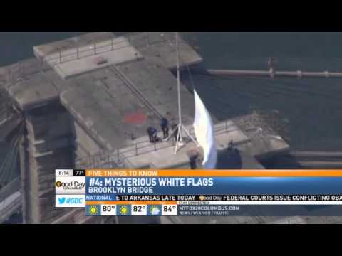 Mysterious White Flags Appear on Brooklyn Bridge