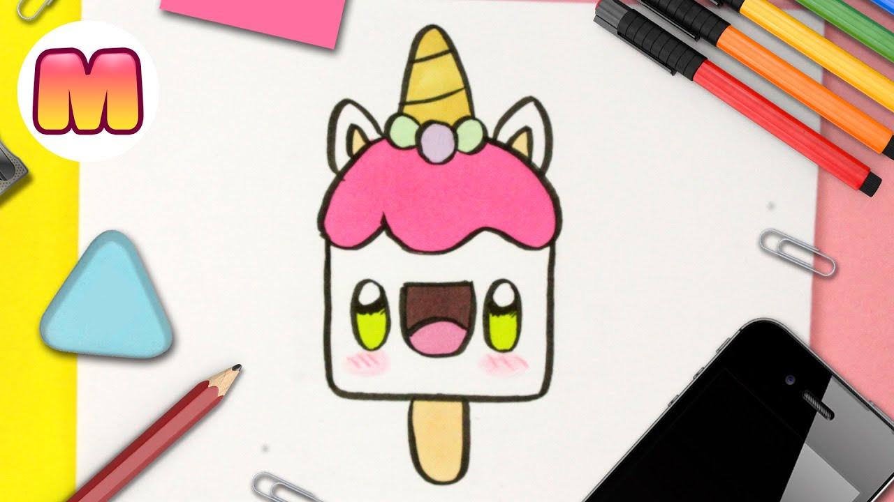 COMO DIBUJAR UN HELADO UNICORNIO KAWAII - Dibujos kawaii faciles - Aprender a dibujar unicornios