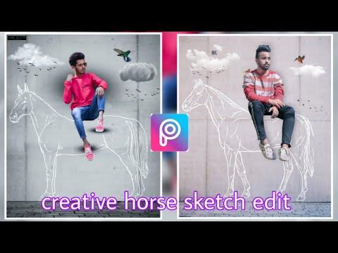PicsArt new creative horse sketch photo editing tutorial Instagram viral photo editing thumbnail