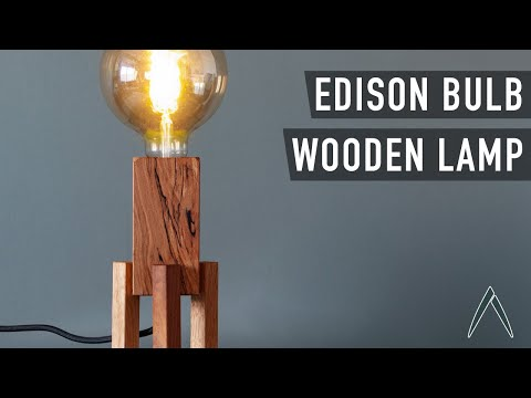 DIY Wooden Lamp with Edison Vintage Bulb