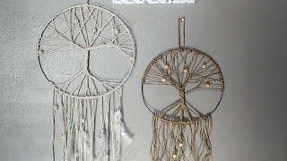 Dollar tree DIY tree of life dream catcher/spring decor//home decor