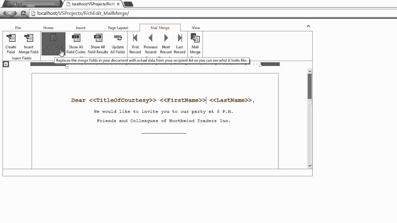 DevExpress ASP NET Rich Edit: Mail Merge