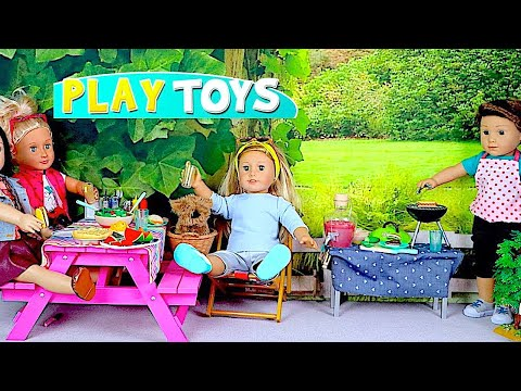 Thumbnail: Baby Doll Cooking Toys - Play American Girl Dolls & Boy Doll BBQ Grill Hamburgers Cooking food toys