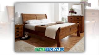 Normandy Oak Sleigh Bed - Dark Wooden Beds