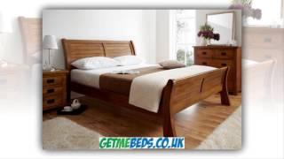 Normandy Oak Sleigh Bed - Dark Wooden Beds