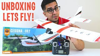 UNBOXING & LETS FLY! - CESSNA 182 RC PLANE! - WLtoys F949 AirPlane!