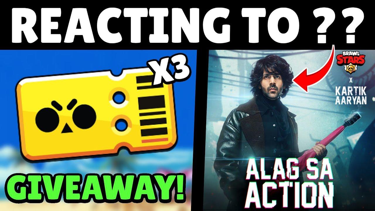 3X Brawl Pass GIVEAWAY! | Reacting to Brawl Stars X Kartik Aryan | #AlagSaAction
