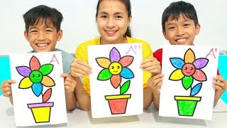 KuMin Kids Go To School Learn Coloring Flower Pot at Classroom Funny