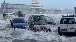 Huge waves hitting parking place  - Cannes
