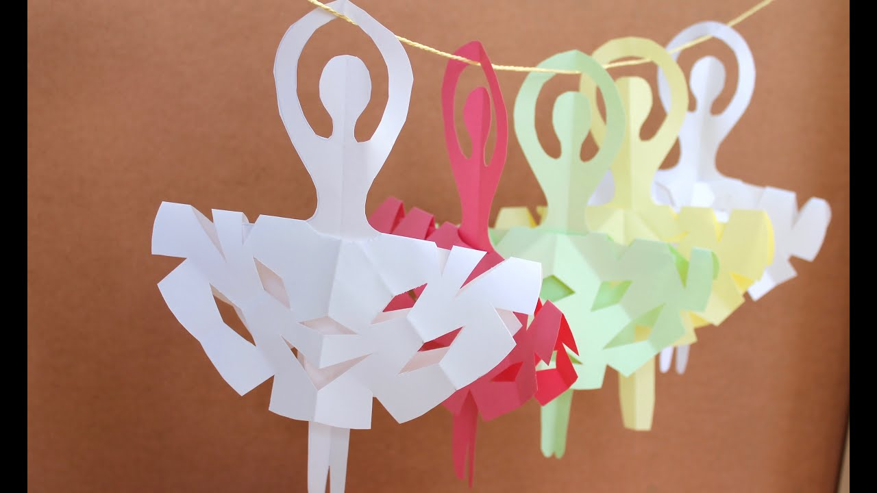 Easy paper craft how to make snowflake ballerinas youtube for How to make craft