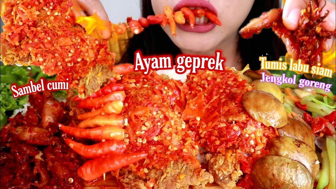 ASMR AYAM GEPREK + SAMBEL CUMI + TUMIS LABU SIAM + JENGKOL GORENG | ASMR MUKBANG INDONESIA
