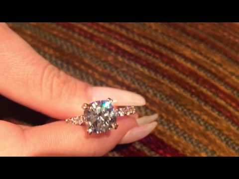 4 ct Cubic Zirconia Cushion Cut Rose Gold Engagement Ring