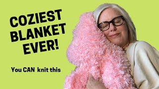 BEGINNER KNITTING   Fluffy Bunny Blanket Knitting Pattern   You CAN Knit This!