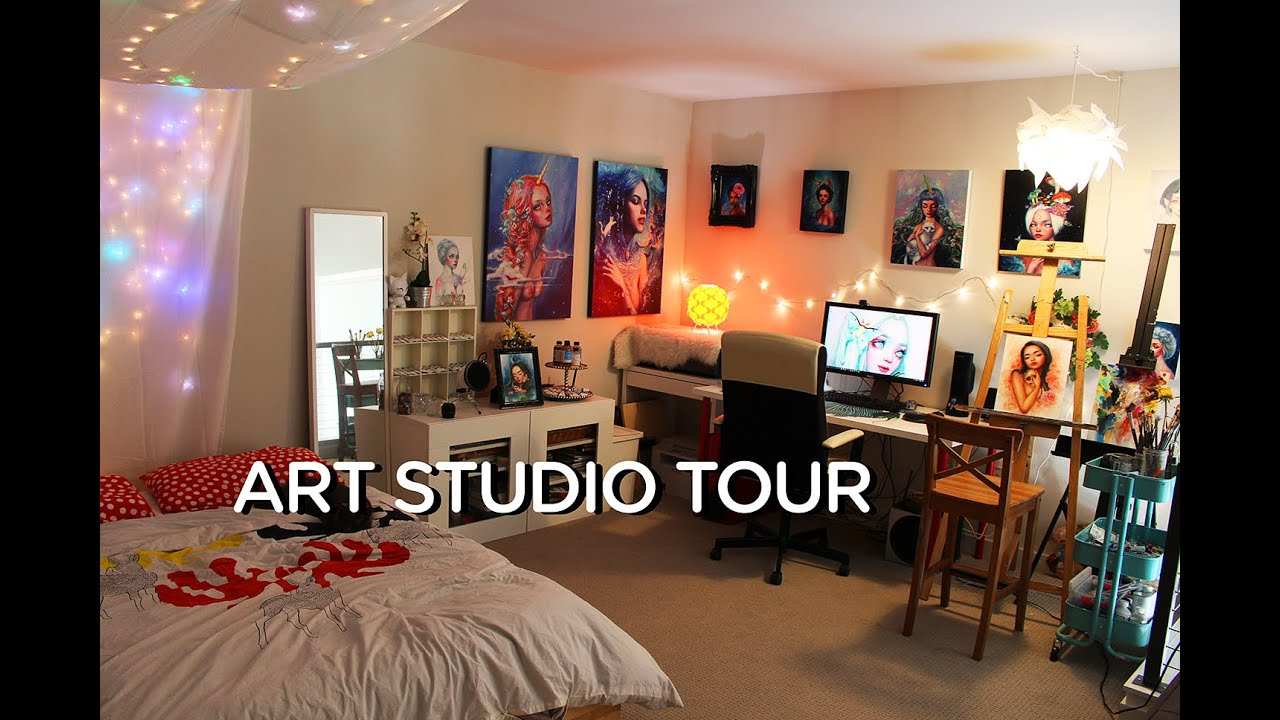 Room tour art studio youtube for Salon rochepinard tours