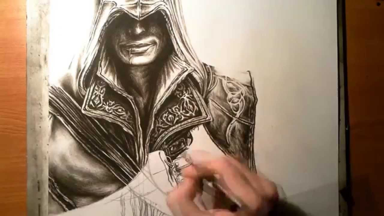 Drawing Of Ezio Auditore From Assassin S Creed Ii Youtube