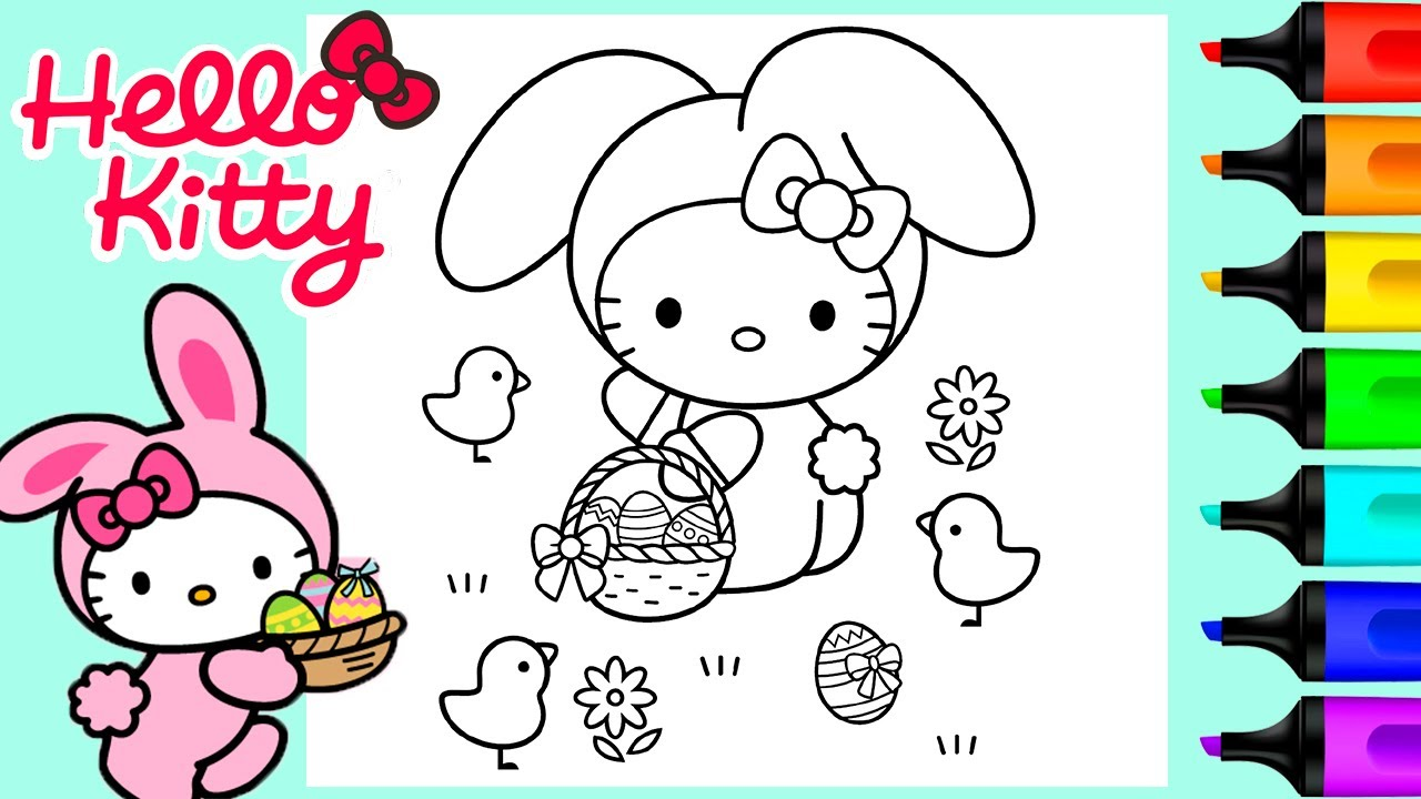 Hello Kitty Easter Bunny Coloring Pages   Art and Coloring Fun