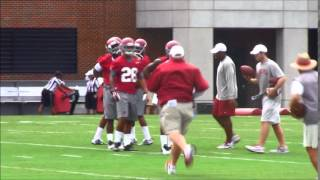Eddie Jackson, Tony Brown practice with Alabama CBs - Aug. 1, 2014