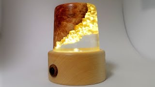 Woodturning - A Hybrid Wood and Resin LED Lamp