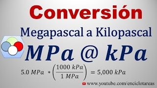 Convertir de megapascal a kilopascal (MPa a kPa)