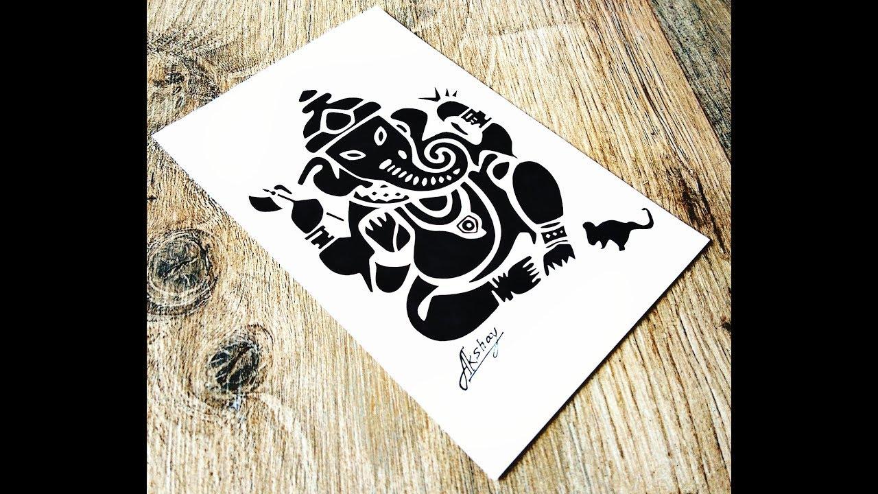 8d47dceb5a723 How to draw Lord Ganesha - Stencil art - Art Maker Akshay - YouTube
