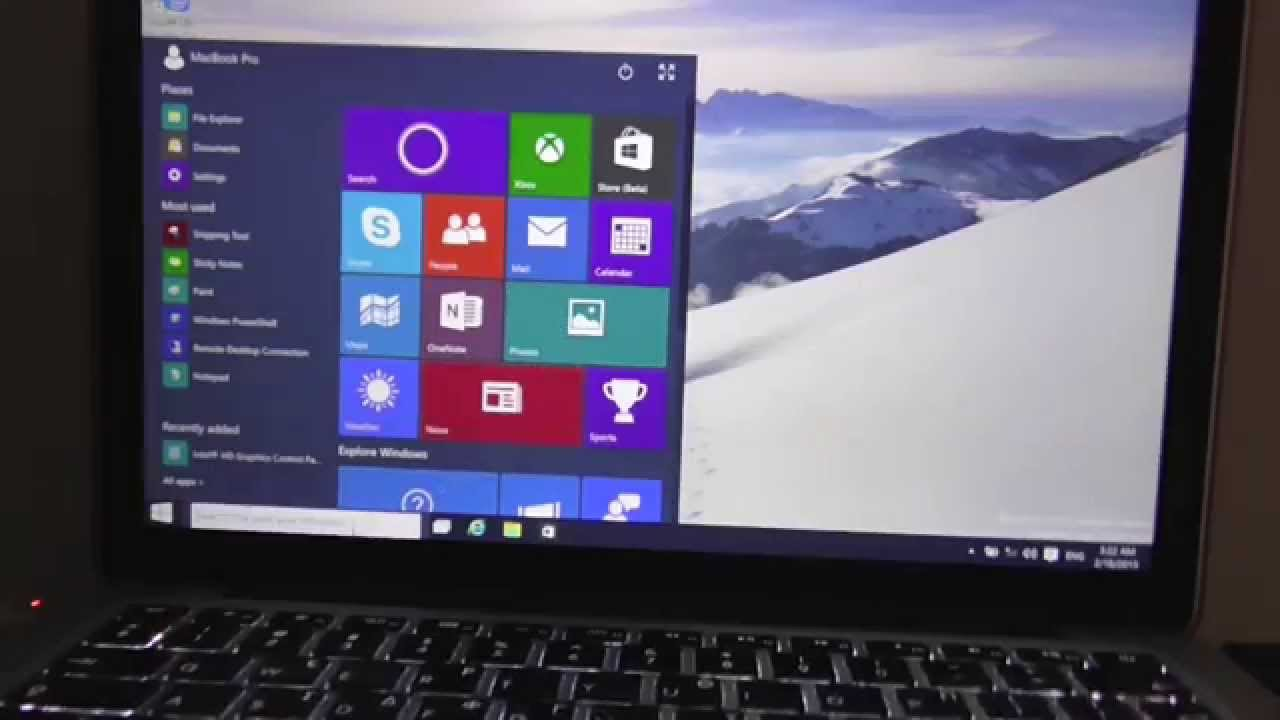 how to install windows 10 on macbook pro with retina on os