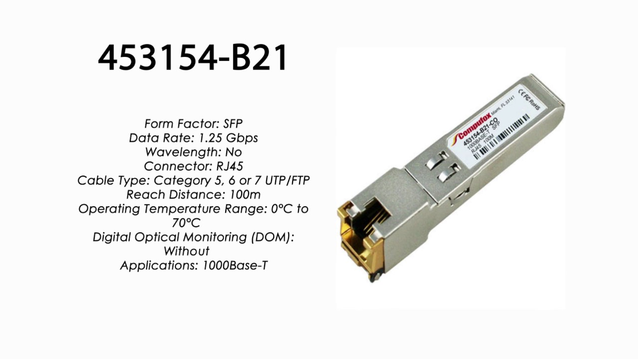 453154-B21 6 or 7 UTP//FTP transceiver HP Compatible 1000BASE-T SFP 100m Category 5