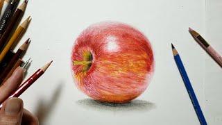 色鉛筆でリンゴを描いてみた Draw a real apple