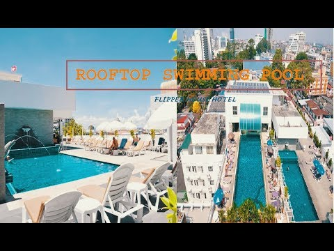 Rooftop swimming pool at Flipper house hotel | Pattaya soi 7 | Thailand