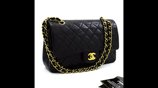 "x05 CHANEL 2.55 Double Flap 10"" Chain Shoulder Bag Black Lambskin"